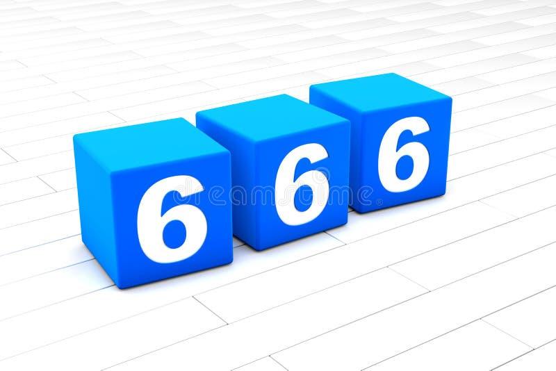Illustration 3D der symbolischen Nr. 666 stock abbildung