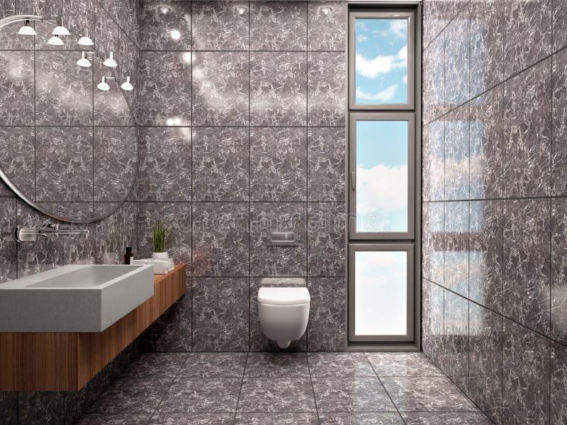Illustration 3d der unbedeutenden Innenart des modernen Badezimmers stock abbildung