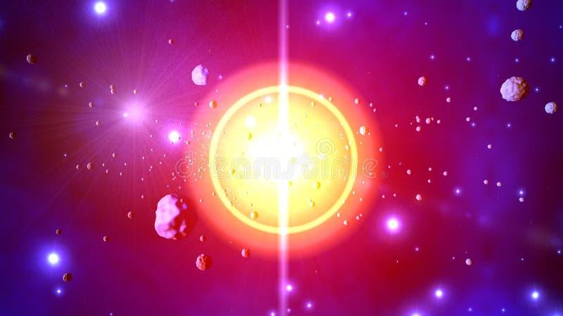 illustration 3D des asteroïdes de lancement d'une explosion stellaire illustration libre de droits