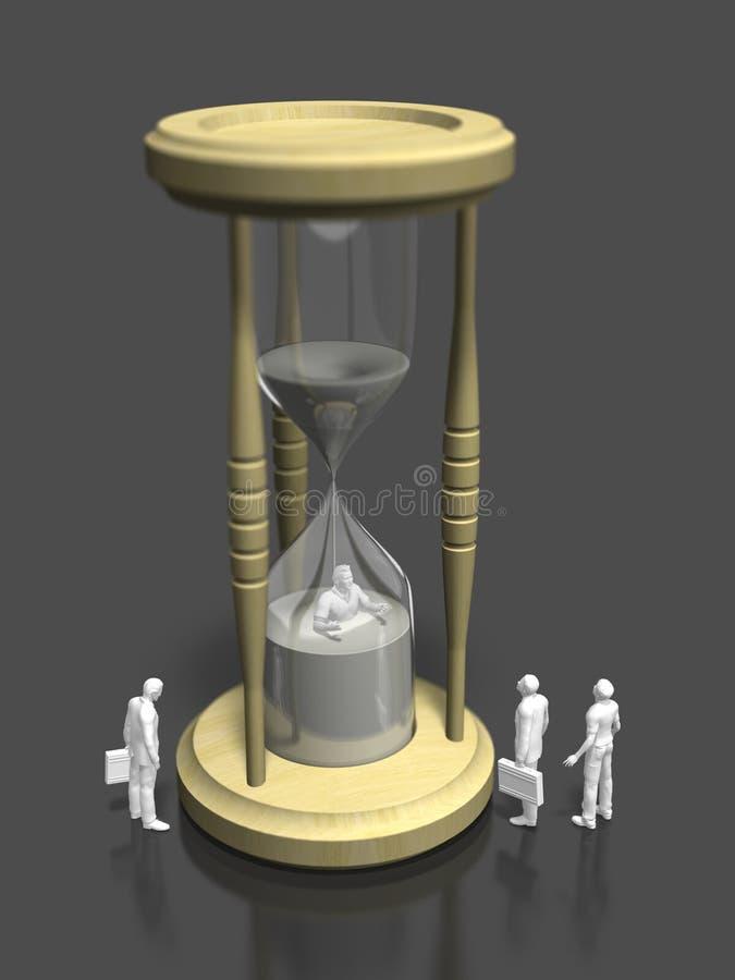 Illustration 3D des Blickes auf die Sanduhr stock abbildung