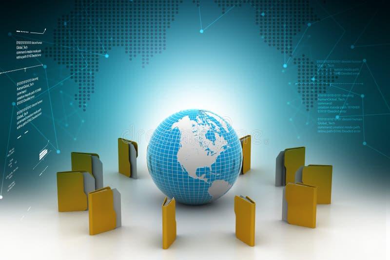 Illustration 3d des Dateiordners rund um den Globus stock abbildung