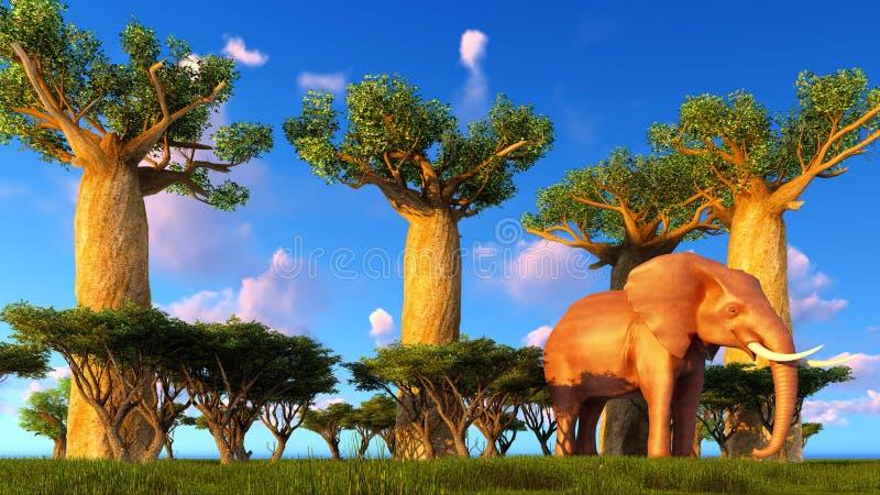 Illustration 3d des Elefanten, der nahe Baobabbäumen geht vektor abbildung