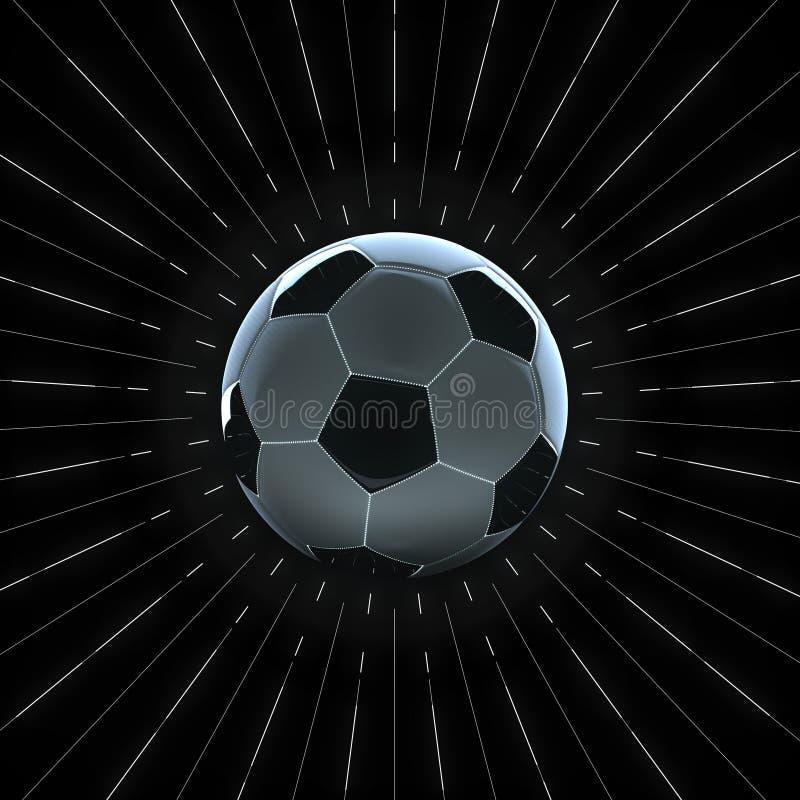 Illustration 3d des Fußballs mit Kantenlicht und glühenden Nähten mit dünnem Weiß strahlt Radialmuster herum aus auf Schwarzem stock abbildung