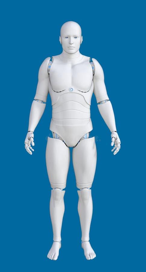 Illustration 3D des futuristischen weißen männlichen Cyborg stock abbildung