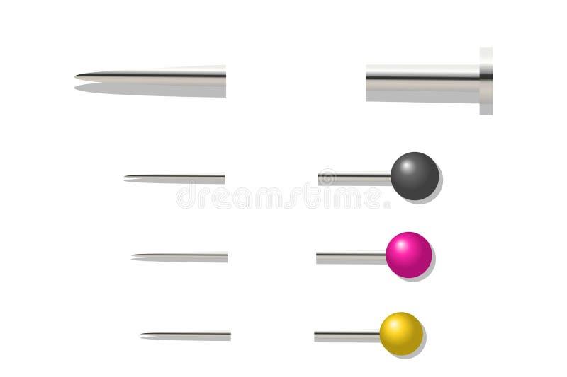 illustration 3D des goupilles sur le fond blanc style de conception illustration stock