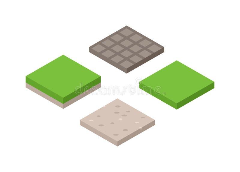 Illustration 3d des isometrischen Landquerschnitts Bodens mit Gras lokalisierte Vektor stock abbildung