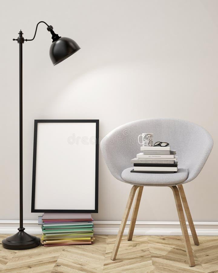 Illustration 3D des leeren Plakats auf der Wand des Wohnzimmers, Schablonenhintergrund lizenzfreie abbildung