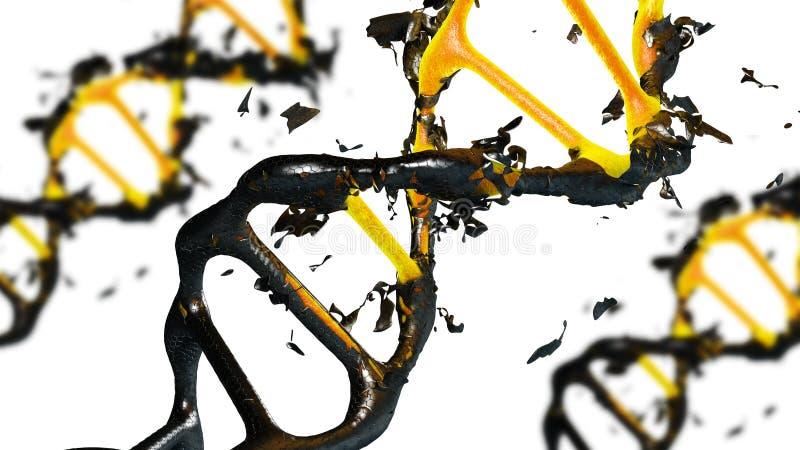 illustration 3d des molécules d'une dégradation d'ADN illustration de vecteur