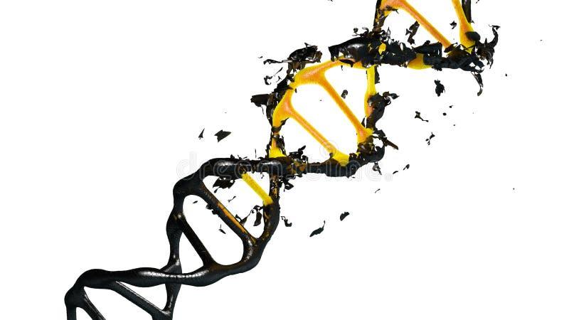 illustration 3d des molécules d'une dégradation d'ADN illustration stock