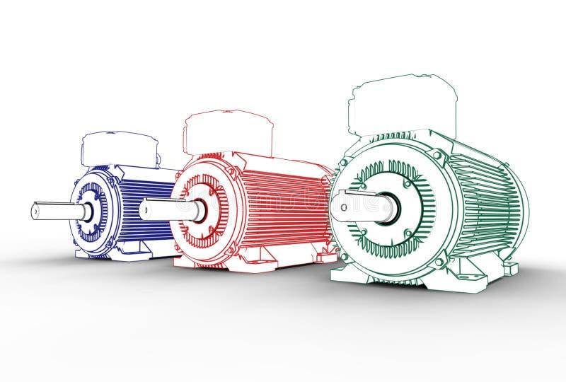 illustration 3d des moteurs électriques illustration stock