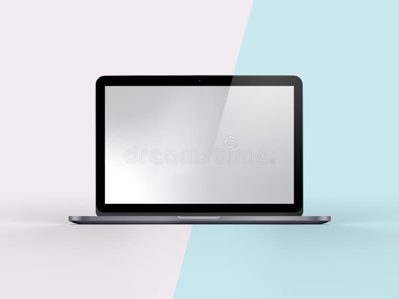 Illustration 3D des Notizbuches auf einfachem Pastellrosa-Minzen-Hintergrund lizenzfreie abbildung