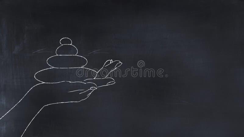 illustration 3D des pierres de zen sur un peint à la main illustration libre de droits