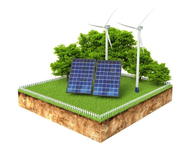 Illustration 3d des Querschnitts Bodens mit Sonnenkollektoren lizenzfreie abbildung