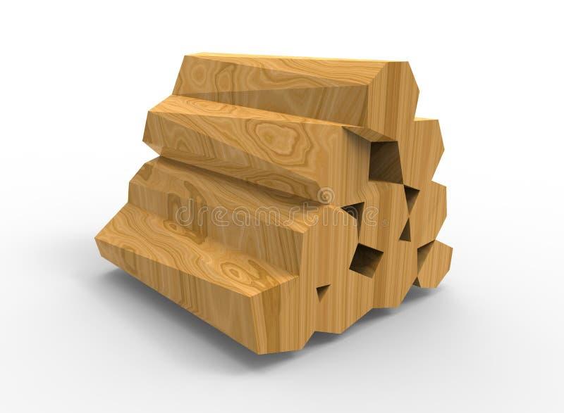 illustration 3d des rondins en bois illustration stock