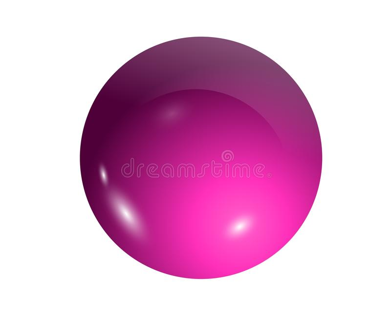 Illustration 3D des rosa Balls auf weißem Hintergrund lizenzfreie stockfotos