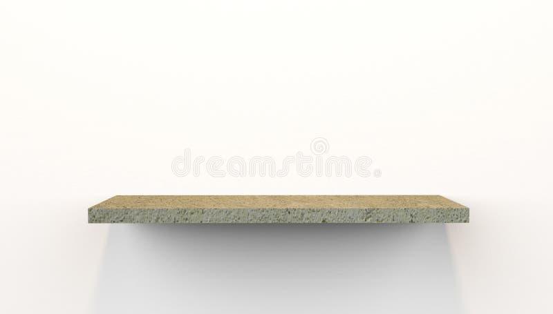 Illustration 3D des sich hin- und herbewegenden Regals im Beton angebracht an der Wand lizenzfreie abbildung