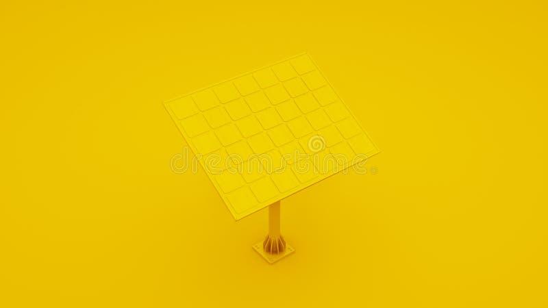 Illustration 3d des Sonnenkollektors über gelbem Hintergrund lizenzfreie stockbilder