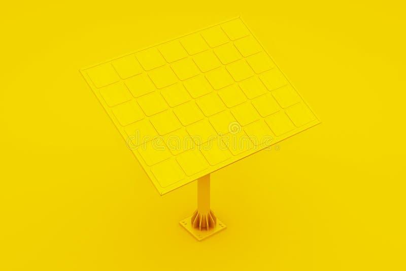Illustration 3d des Sonnenkollektors über gelbem Hintergrund stock abbildung