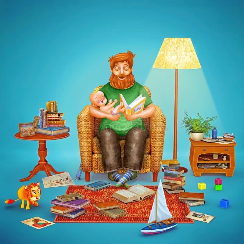 Illustration 3D des Vaters und seines Babys im Wohnzimmer vektor abbildung