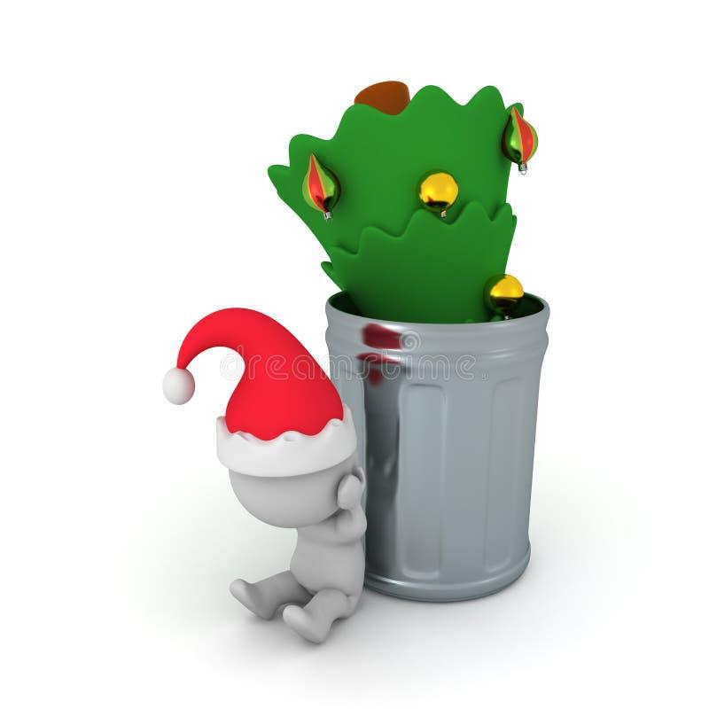 Illustration 3D des Weihnachtsbaums geworfen in einen Mülleimer und in einen sa vektor abbildung