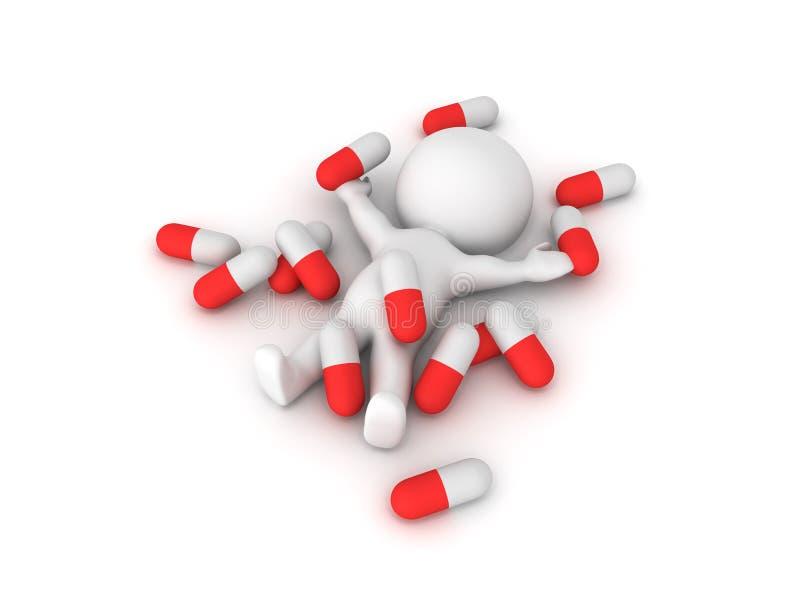 Illustration 3D, die Drogenmedizinmissbrauch darstellt lizenzfreie abbildung