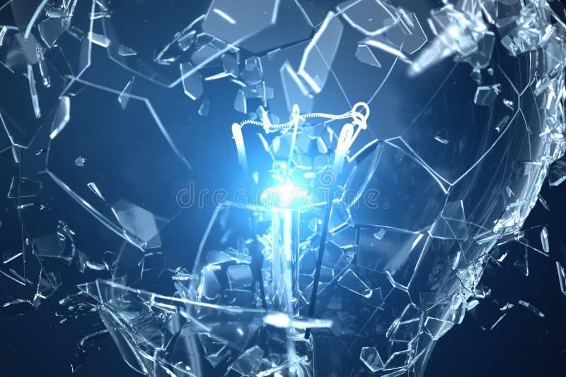 Illustration 3D, die Glühlampe auf einem blauen Hintergrund, mit Konzeptbrainstorming und innovativen Lösungen explodiert lizenzfreie stockbilder