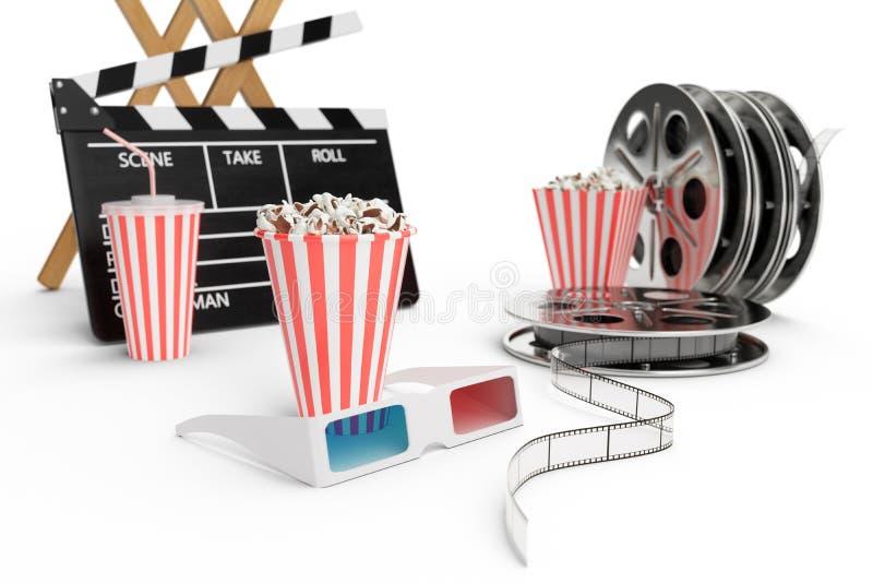 Illustration 3D, Direktornstuhl, Filmscharnierventil, Popcorn, Gläser 3d, Filmstreifen, Filmrolle und Schale mit gekohltem Geträn lizenzfreie abbildung
