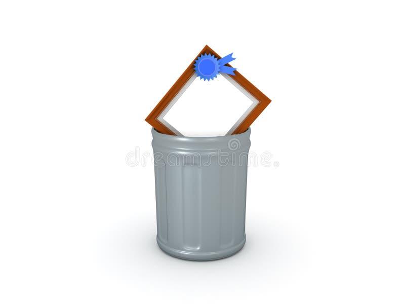 illustration 3D du diplôme étant jeté dans la poubelle illustration stock