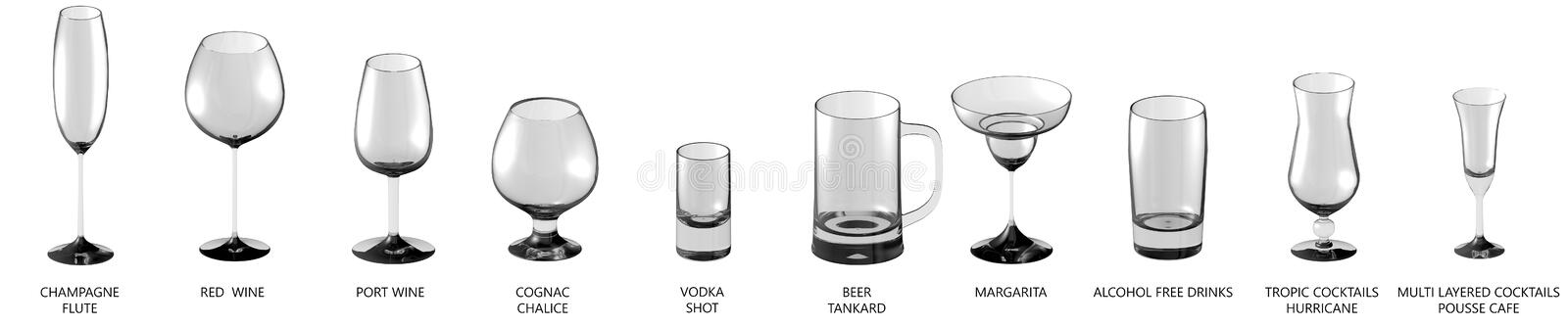 illustration 3D du grand ensemble de divers verres pour les boissons fortes d'alcool et de cocktails d'isolement sur la vue blanc illustration stock