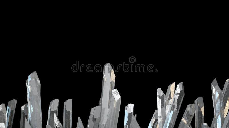 illustration 3D du macro minerai en pierre en cristal Cristaux de quartz sur le fond noir photo stock