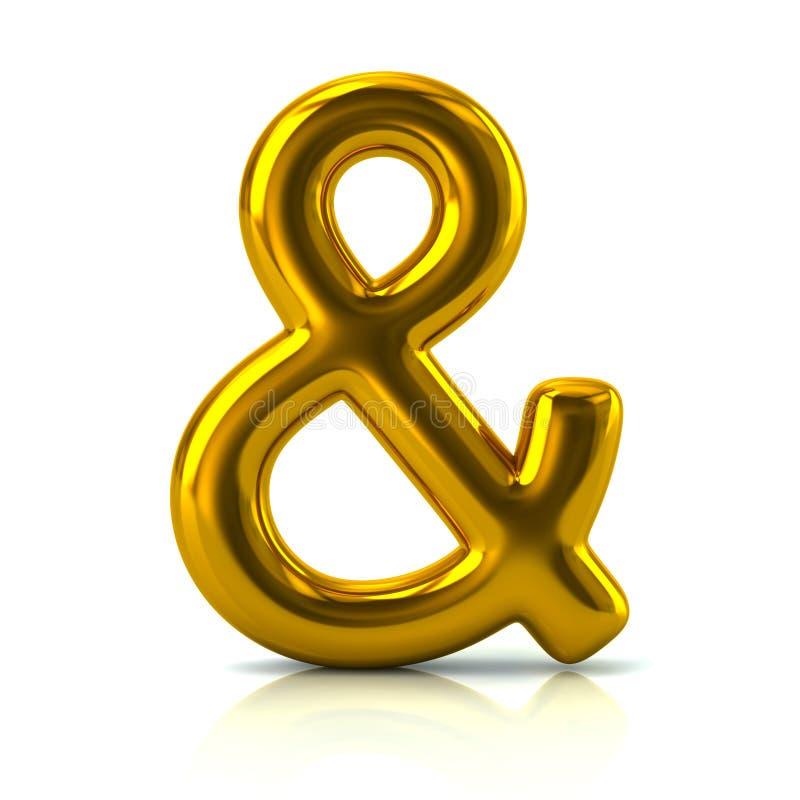Illustration d'or du symbole 3d d'esperluète illustration libre de droits