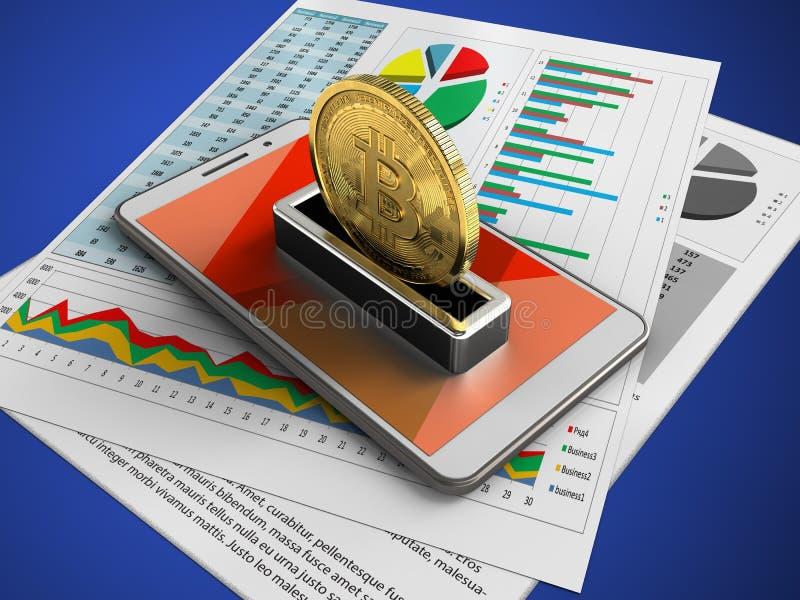 illustration 3d du téléphone blanc au-dessus du fond bleu avec les papiers d'affaires et le bitcoin illustration de vecteur