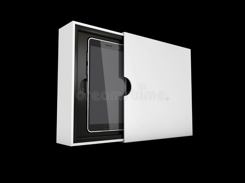 illustration 3D du téléphone intelligent moderne dans la boîte Écran noir pour la maquette, noir d'isolement illustration de vecteur
