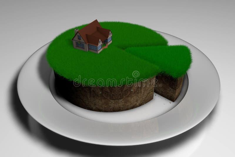 Illustration 3D ein Stück des Landes mit Gras und des Hauses auf ihm vektor abbildung
