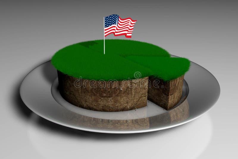 Illustration 3D ein Stück Land mit grünem Gras in einer Platte und die feste Flagge von Amerika vektor abbildung