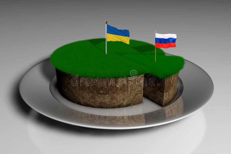 Illustration 3D ein Stück Land mit grünem Gras und die feste Flagge von Ukraine und von Russland vektor abbildung
