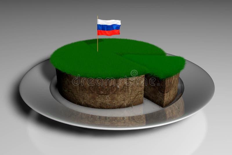 Illustration 3D ein Stück Land mit Gras mit den Flaggen von Russland stock abbildung