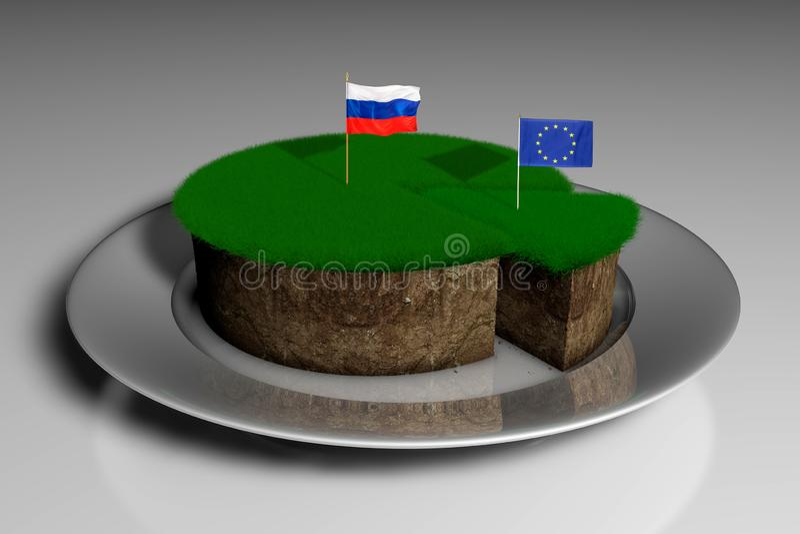 Illustration 3D ein Stück Land mit Gras mit den Flaggen von Russland und von Europäischen Gemeinschaft stock abbildung