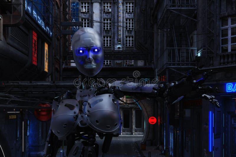 Illustration 3D einer futuristischen städtischen Szene mit Cyborg lizenzfreie abbildung