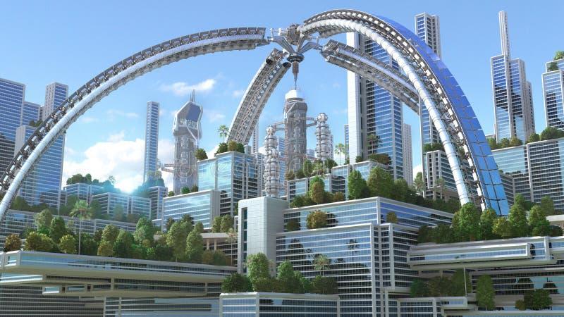 Illustration 3D einer futuristischen Stadt lizenzfreie abbildung