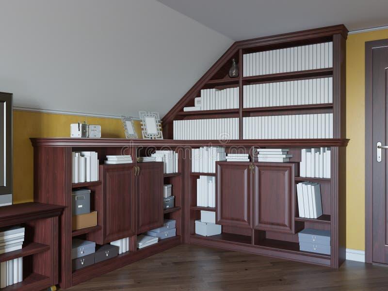 Illustration 3d einer Hauptbibliothek auf dem Dachbodenboden eines Privathauses stock abbildung