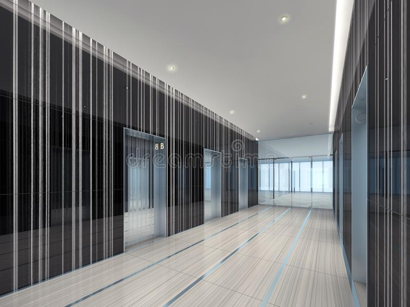 Illustration 3d einer modernen Aufzugslobby stock abbildung