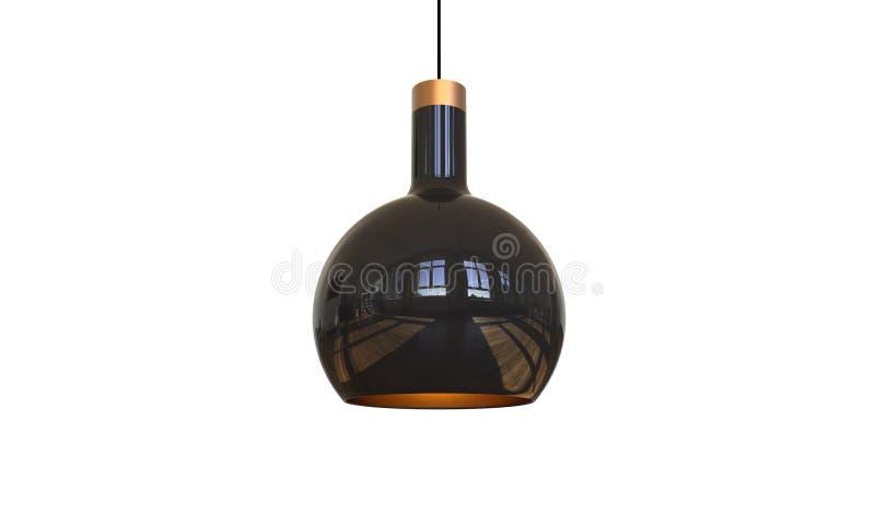 Illustration 3d einer modernen hängenden Lampe lokalisiert lizenzfreie abbildung