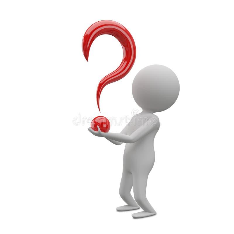 Illustration 3D eines abstrakten Mannes mit einem Fragezeichen in seinem H stock abbildung