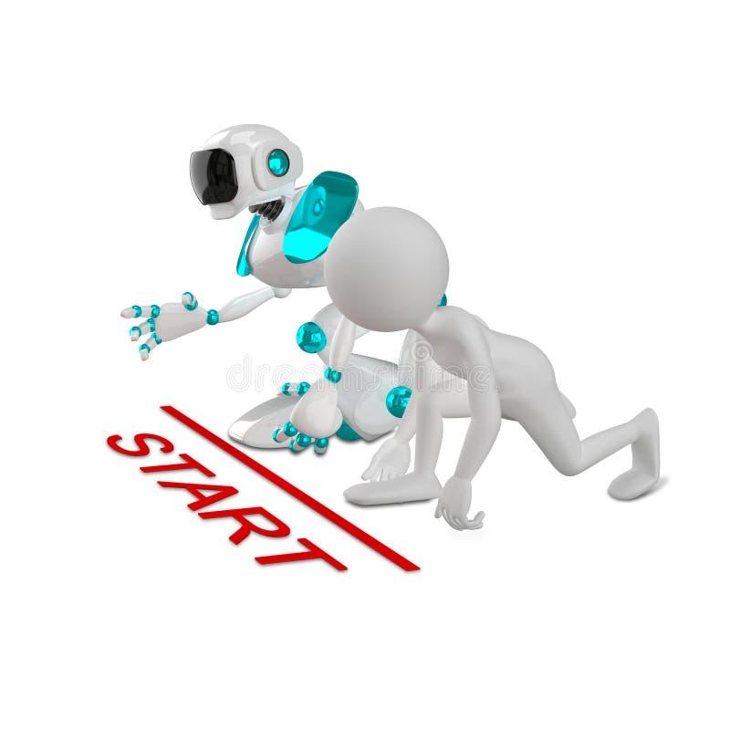Illustration 3D eines abstrakten Mannes und des Roboters beim Anfang lizenzfreie abbildung