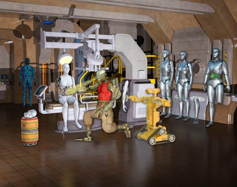 Illustration 3D eines Cyborg, der Roboter repariert stock abbildung