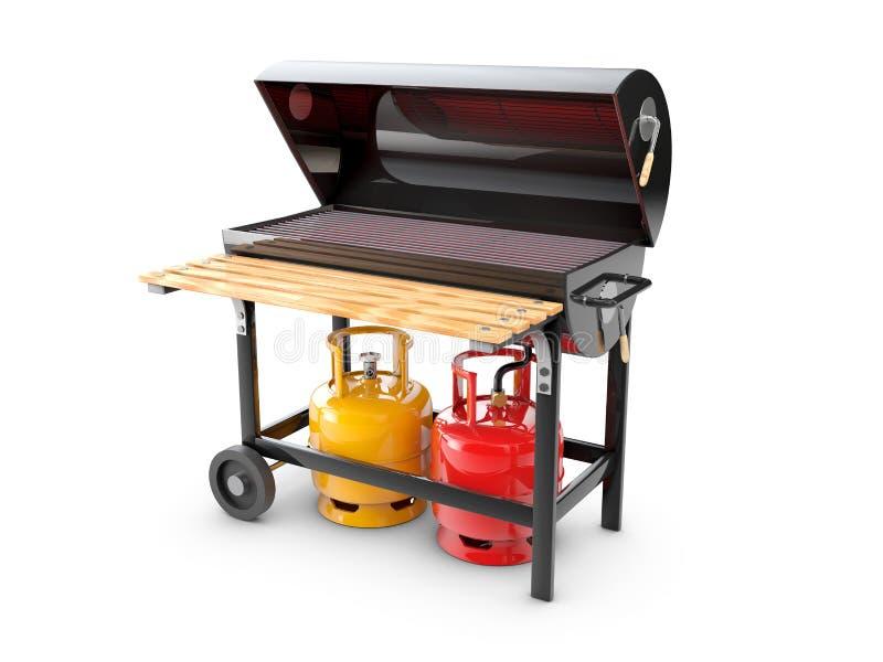 Illustration 3d eines Edelstahlgasgrills oder -grills stock abbildung