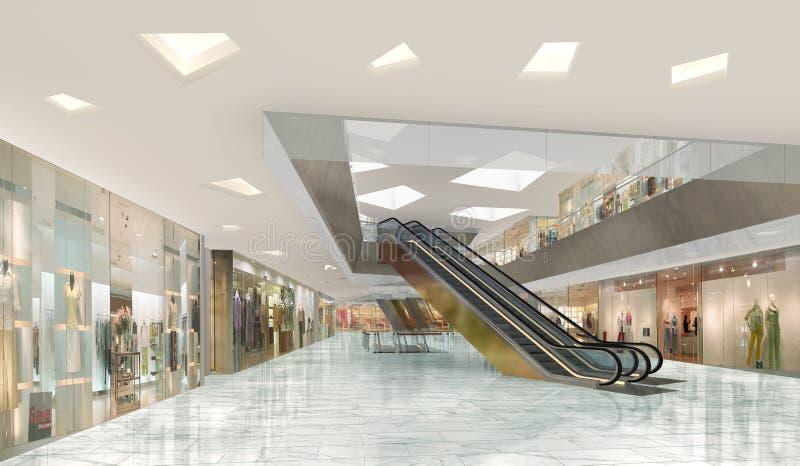 Illustration 3d eines Einkaufszentrums stock abbildung