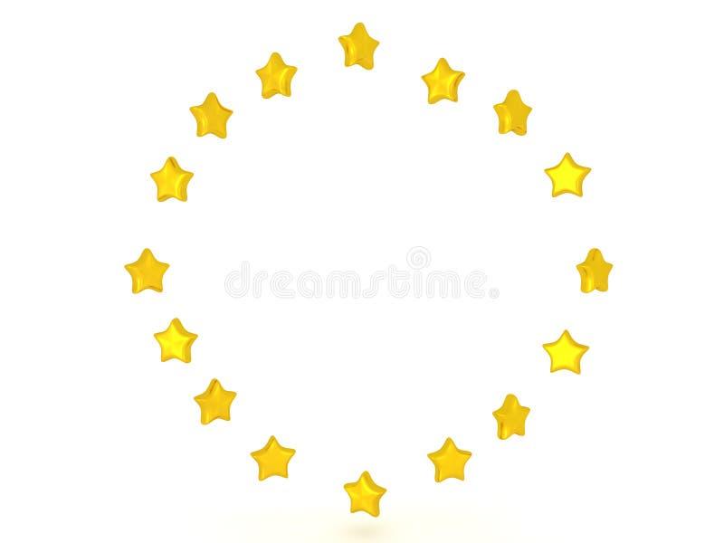 Illustration 3D eines Kreises der glänzenden Sterne lizenzfreie abbildung