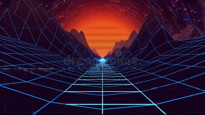 Illustration 3d eines Landes, das unabhängig der Zeit und des Raumes sich bewegt vektor abbildung